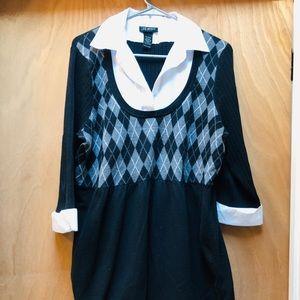 Lane Bryant Collared Sweater Black/White